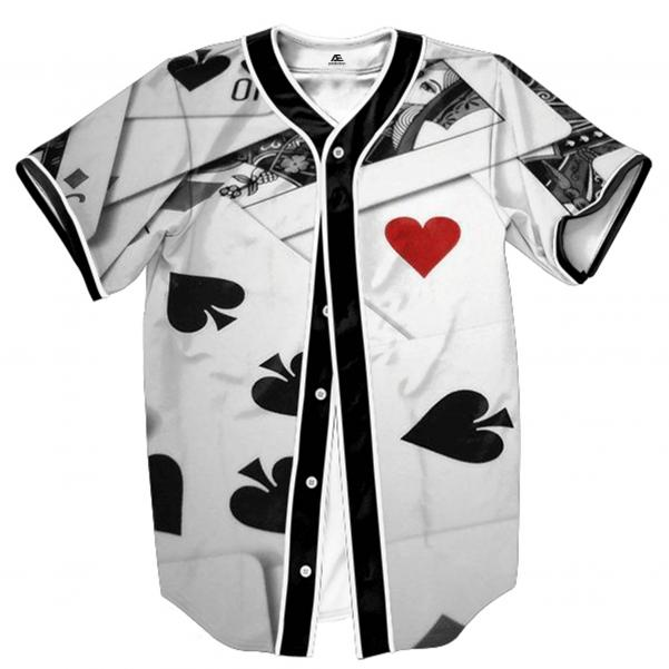 Baseball jersey white color with play card printing by clothing manufacturer