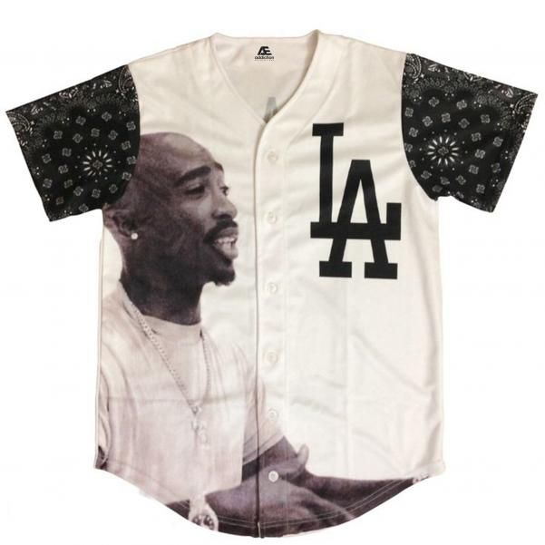 Baseball jersey white color with contrast printing clothing manufacturer