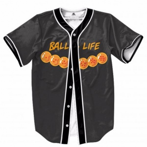 Baseball jersey Black color with orange details by clothing manufacturer