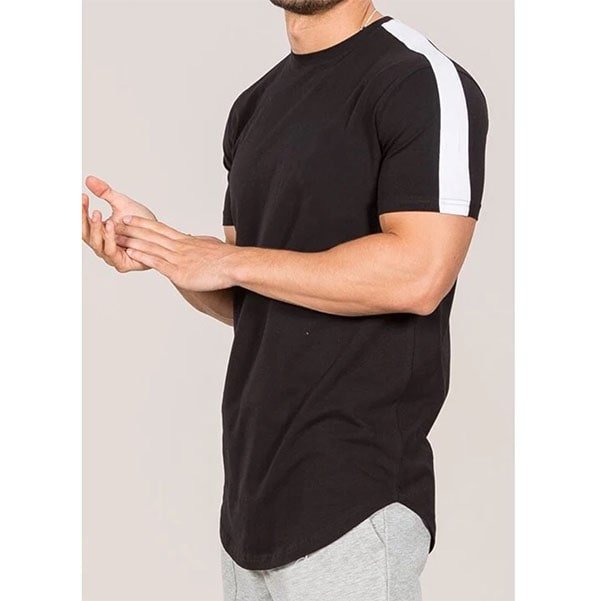100% pure cotton black tshirt with white shoulder panel size look by clothing manufacturer