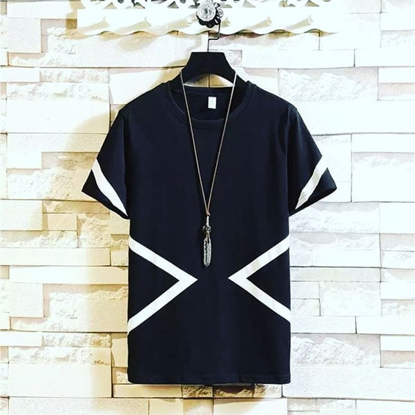 Pure cotton black tee shirt with white contrast by clothing manufacturer