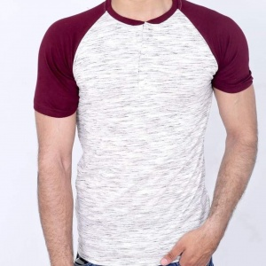 Pure cotton raglan white and maroon tee shirt for men by addictionentps
