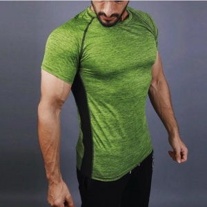 Lime green men Fashion compression fit fitness tee shirt for men by addictionentps