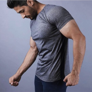 Grey men Fashion compression fit fitness tee shirt for men by addictionentps