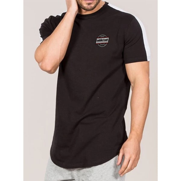 100% pure cotton black tshirt with white shoulder panel by clothing manufacturer
