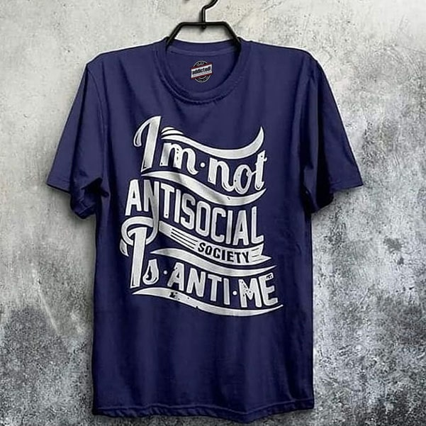 Royal blue tee shirt fashion with white antisocial words by clothing manufacturer