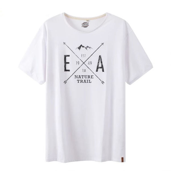 Pure cotton white tee shirt with black logo by clothing manufacturer