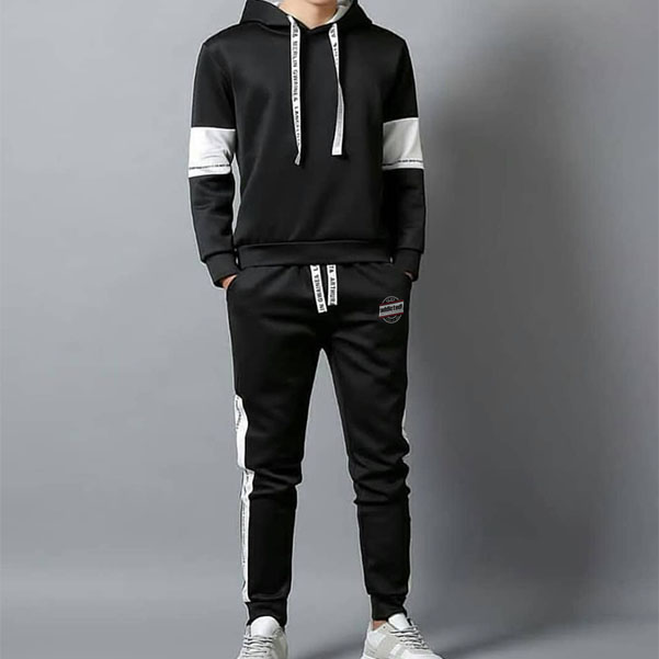 mens Black tracksuit with white arm panel Printed draw cord by addictionentps