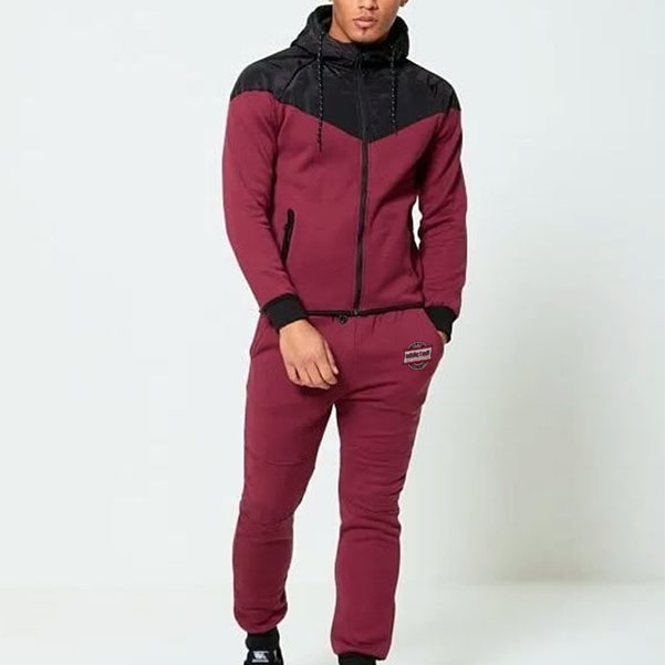 Maroon men tracksuit with black panel front by addictionentps