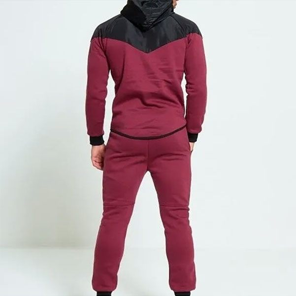 Maroon men tracksuit with black panel back side by addictionentps
