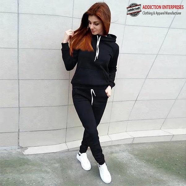 Pure black tracksuit for women with white draw cord by addictionentps