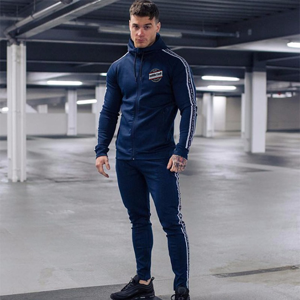 Royal Blue zipper tracksuit front with side detail addictionentps logo