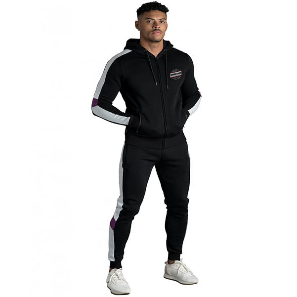 Black tracksuit with white side panel new fashion clothing manufacturer