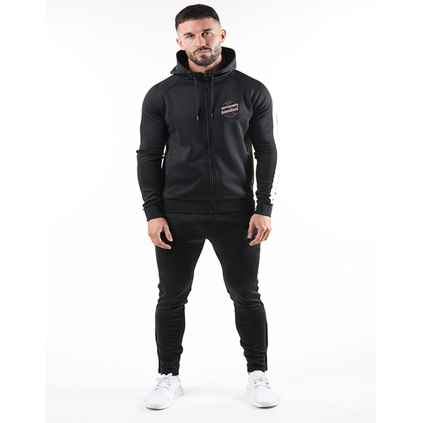 Black zipper tracksuit front with black draw cord clothing manufacturer