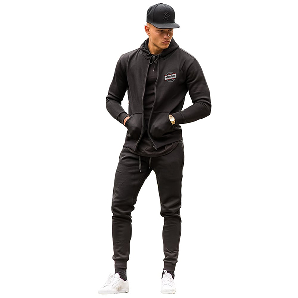 Black zipper tracksuit front with zipper best quality clothing manufacturer