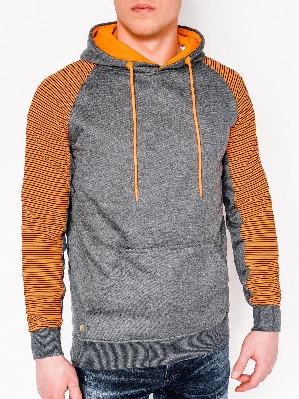grey hoodie with orange arms and hood pullover