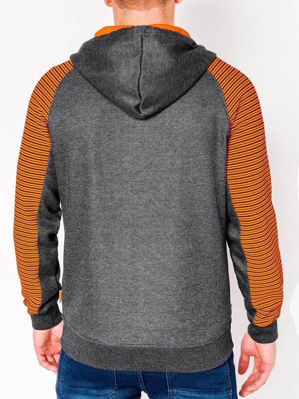 light grey hoodie with orange arms panel by addictionentps